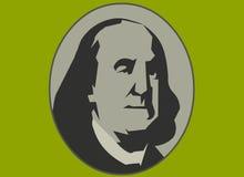 Money man. Vector portrait of Benjamin Franklin stock illustration