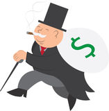 Money Man Running. Isolated man running with bag of money royalty free illustration