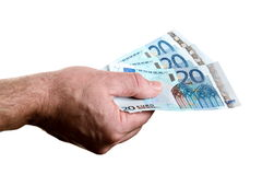 Money in man's hand Royalty Free Stock Photography