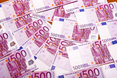 Money management. Euro banknotes on a table, financial management Stock Image