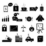 Money management. Black money management icon vector set Stock Image