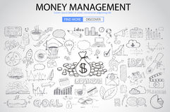 Money Management concept with Doodle design style. Saving solution, investmen studies, stock graphs. Modern style illustration for web banners, brochure and Vector Illustration