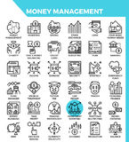 Money management icons. Money management concept detailed line icons set in modern line icon style for ui, ux, web, app design Royalty Free Stock Photography