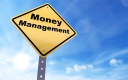 Money management sign. On blue sky background,3d rendered Stock Images
