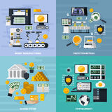 Money Manufacturing Concept Icons Set Stock Images