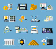 Money Manufacturing Icons Set. With finance symbols flat isolated vector illustration Stock Photo
