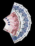 Money - Many 20 And 10 Euro Notes. Laid Out As Fan royalty free stock images