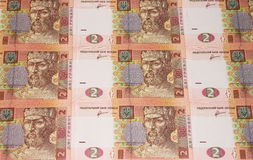 Money. Many banknotes in two hryvnia Royalty Free Stock Photo