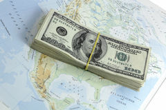 Money on the map. Of america Royalty Free Stock Photos