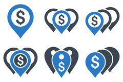Money Map Markers Flat Vector Icons. Money Map Markers vector icons. Icon style is bicolor smooth blue flat symbols with rounded angles on a white background Royalty Free Stock Photo