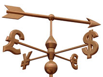 Money market. Weathervane with currency symbols showing the direction of the money markets Royalty Free Stock Photography