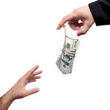 Money on the master of puppets finger Stock Photography