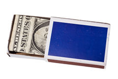 Money in matchbox Stock Photo