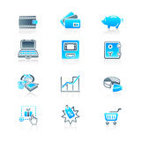 Money matters icons | MARINE series. All about earning, saving and spending money icon-set Royalty Free Stock Photo