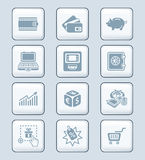 Money matters icons | TECH series. All about earning, saving and spending money icon-set Stock Image