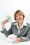 Money mature businesswoman Royalty Free Stock Image