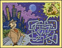 Money Maze Color. Labyrinth with Boss dream with Money -Color artwork Stock Image