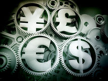 Money mechanism. With currency signs Stock Image