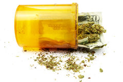 Money and Medical Marijuana Royalty Free Stock Images