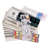 Money for medicine on an isolated Stock Photos
