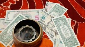 Money meditation stock footage
