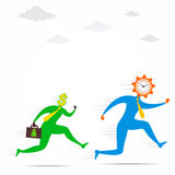 Money men run for time concept Royalty Free Stock Image