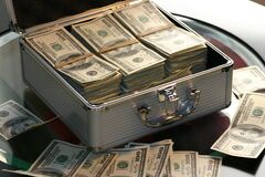 Money in metal case Stock Photography