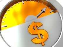 Money meter. Abstract 3d illustration of meter with golden dollar sign Stock Images