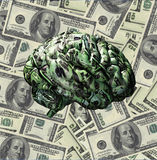 Money Mind. Brain composed of US Currency Royalty Free Stock Photos