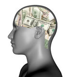Money in mind. Of 3d man on wight Stock Photography