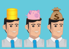 Money Minded Vector Character Illustration Royalty Free Stock Photography