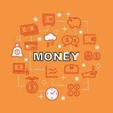 Money minimal outline icons. Vector pictogram set Royalty Free Stock Photos