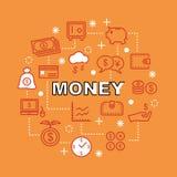 Money minimal outline icons Royalty Free Stock Photos