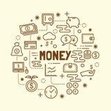 Money minimal thin line icons set Royalty Free Stock Image