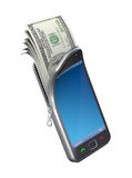 Money in the mobile phone. 3D concept with mobile phone and dollar banknote