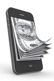 Money in Mobile Phone. On a white background Stock Photo
