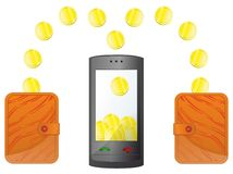 Money in the mobile phone Stock Images