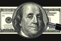 Money, money. (dollar, cent, magnifying glass Royalty Free Stock Photo