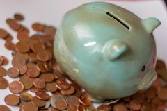 Money, money or cents up to big capitals. money runs the business. a piggy bank, with small coins ... how will it be when the mone. Y is only digital? what`s stock image