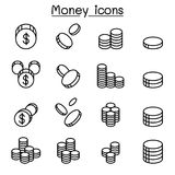 Money & Coin icon set in thin line style. Money Royalty Free Stock Photos