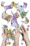Money, money, money. This image shows many banknotes falling from the sky, with hands that wants to catch Stock Photo