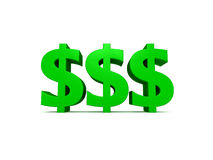 Money Money Money. Dollar Signs isolated against a white background Stock Photo