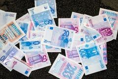 Money! Money! Money!. Money background in Europa with sharp focus in the center Stock Photo