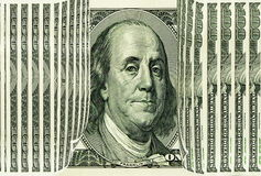 Money, money. 100 US dollars, Franklin portrait. 100 US Dollars as opened curt The Benjamin Franklin portrait on US Dollar bill is looking to us between opened Royalty Free Stock Photos