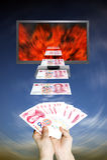 Money and moniter stock photo