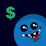 Money Monster. Monster staring at large dollar symbol stock illustration