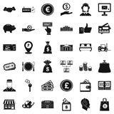 Money motivation icons set, simple style. Money motivation icons set. Simple set of 36 money motivation vector icons for web isolated on white background Royalty Free Stock Images