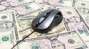 Money and mouse stock photos