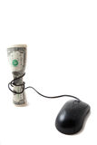 Money with mouse tied around it, bugeting Royalty Free Stock Photos