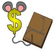 Money in mouse trap Stock Photos